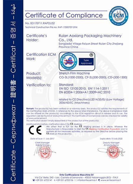 CE 证书-Stretch Blowing Machine